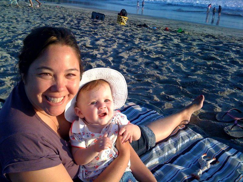 Cora mommy beach aug 09